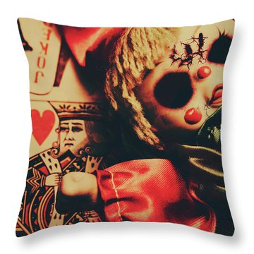 Scary Doll Dressed As Joker On Playing Card Throw Pillow