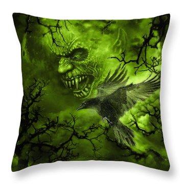 Scary Moon Throw Pillow