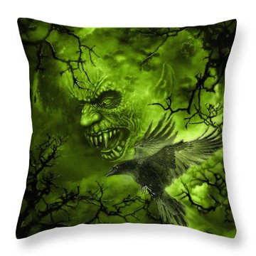 Scary Moon Throw Pillow