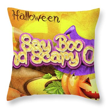 Scary On Throw Pillow by Mo T
