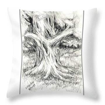 Scary Tree Throw Pillow by Ruth Renshaw