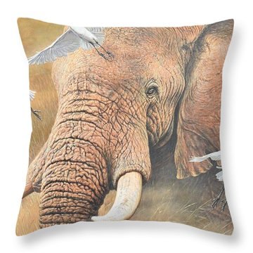 Throw Pillow featuring the painting Scatter by Alan M Hunt