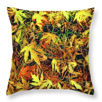 Scattered Autumn Leaves Throw Pillow
