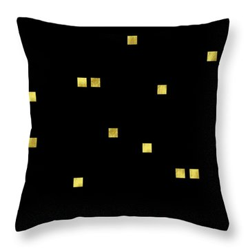 Scattered Gold Square Confetti Gold Glitter Confetti On Black Throw Pillow by Tina Lavoie