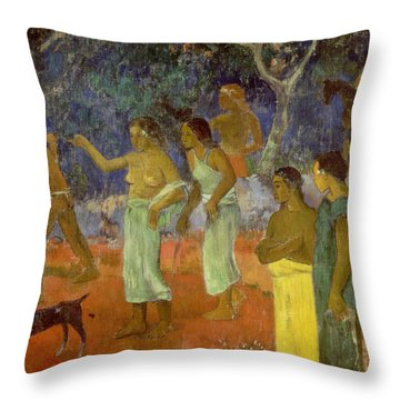 Scene From Tahitian Life Throw Pillow by Paul Gauguin