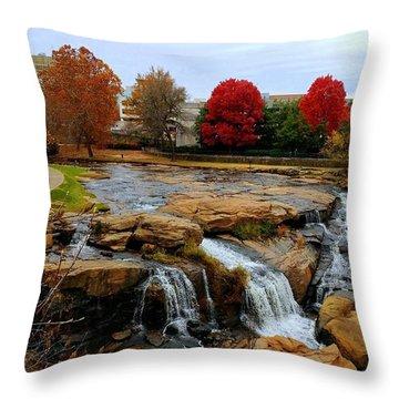 Scene From The Falls Park Bridge In Greenville, Sc Throw Pillow