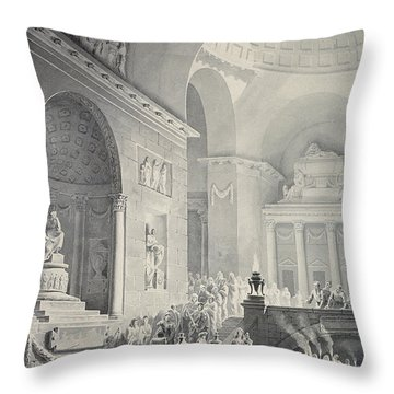 Scene In A Classical Temple  Funeral Procession Of A Warrior Throw Pillow