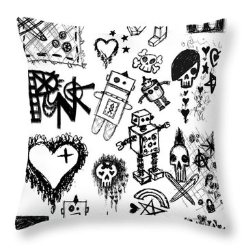 Scene Kid Sketches Throw Pillow by Roseanne Jones