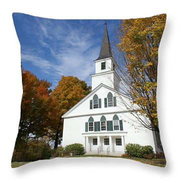 Scenic Church In Autumn Throw Pillow
