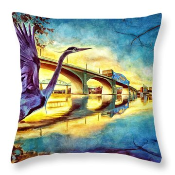 Scenic City Heron Throw Pillow by Steven Llorca