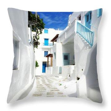 Scenic Mykonos Throw Pillow