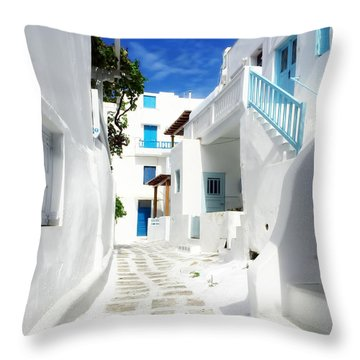 Scenic Mykonos Throw Pillow by HD Connelly