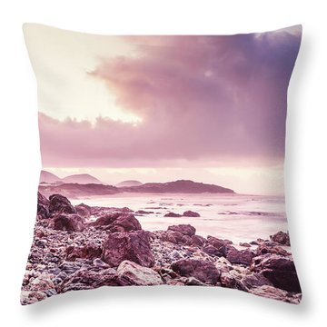 Scenic Seaside Sunrise Throw Pillow