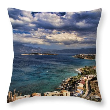 Scenic View Of Eastern Crete Throw Pillow