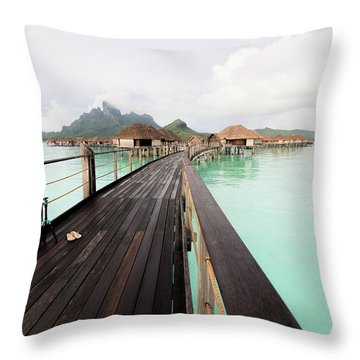 Scenic Walk To The Bungalow Throw Pillow