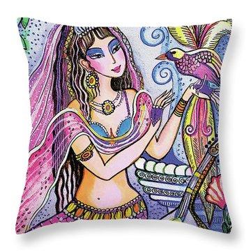 Scheherazade's Bird Throw Pillow