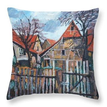 Scheunen Am Ortsrand Lienzingen Throw Pillow by Martin Stankewitz