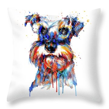Schnauzer Head Throw Pillow by Marian Voicu