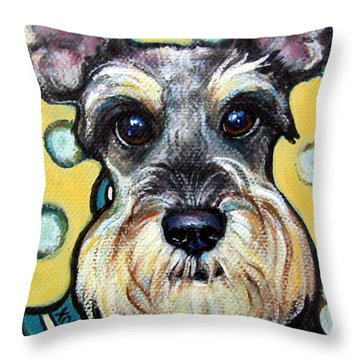 Schnauzer With Polkadots Throw Pillow by Rebecca Korpita