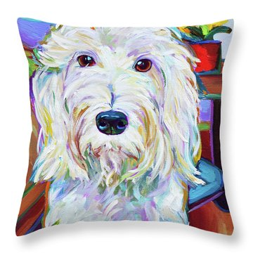 Throw Pillow featuring the painting Schnoodle by Robert Phelps