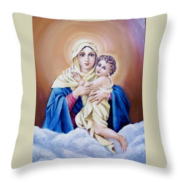 Schoenstat-tribute Throw Pillow by Natalia Tejera