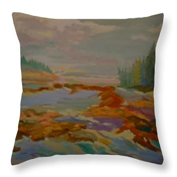 Throw Pillow featuring the painting Schoodic Inlet 2 by Francine Frank
