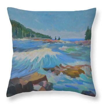 Throw Pillow featuring the painting Schoodic Inlet by Francine Frank