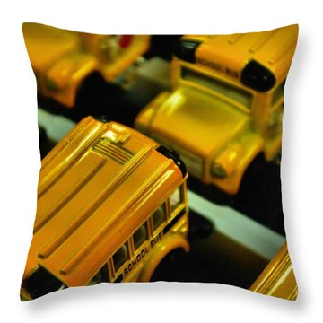 Throw Pillow featuring the photograph School Buses  by John S