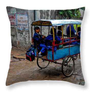 School Cart Throw Pillow