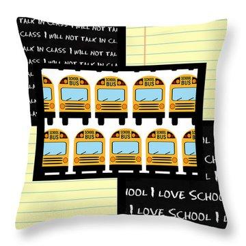 Throw Pillow featuring the digital art School Days 1- Cute Art by KayeCee Spain