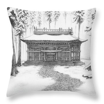 School In The Snow Throw Pillow