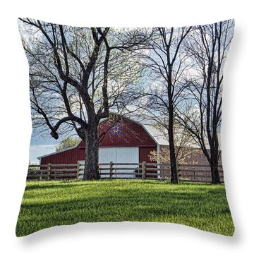 Throw Pillow featuring the photograph Schooler Road Barn by Cricket Hackmann
