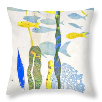 Schooling Throw Pillow by Cynthia Lagoudakis