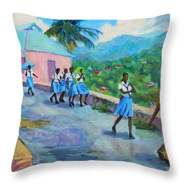 School's Out In Jamaica Throw Pillow by Margaret  Plumb