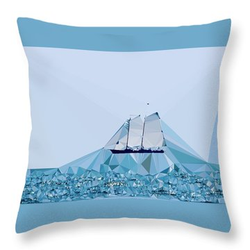 Schooner, Abstracted Throw Pillow by Sandy Taylor