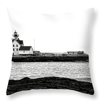 Schooner At Cuckolds Light Throw Pillow by Olivier Le Queinec