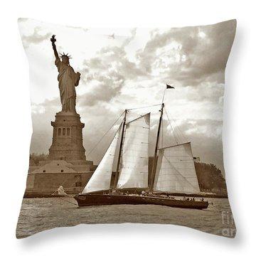 Schooner At Statue Of Liberty Twurl Throw Pillow