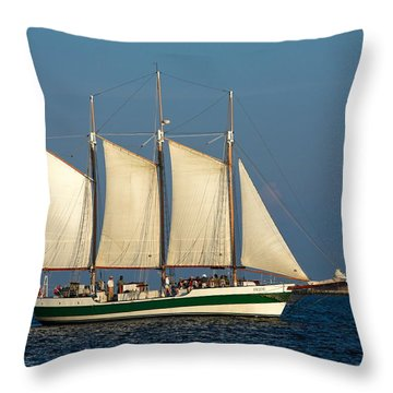 Schooner By Fort Sumter Throw Pillow by Sally Weigand