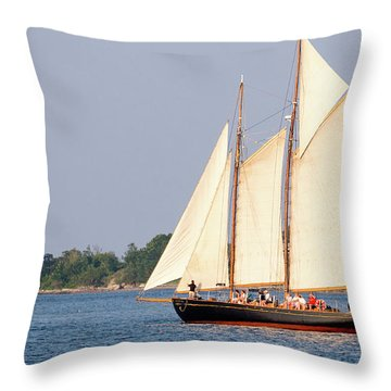 Throw Pillow featuring the photograph Schooner Cruise, Casco Bay, South Portland, Maine  -86696 by John Bald