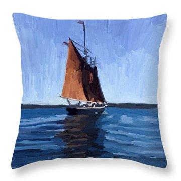 Schooner Roseway In Gloucester Harbor Throw Pillow