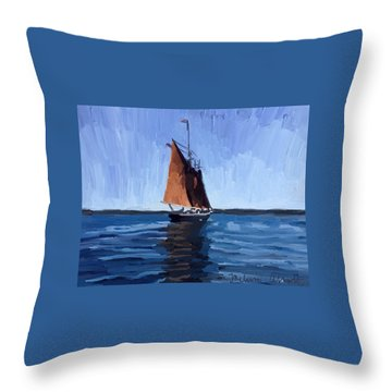 Schooner Roseway In Gloucester Harbor Throw Pillow