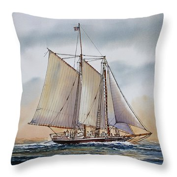 Schooner Stephen Taber Throw Pillow by James Williamson