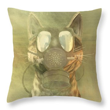 Schrodinger Underestimates The Cat. Throw Pillow by Carol and Mike Werner