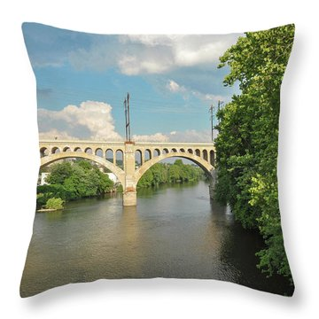 Schuylkill River At The Manayunk Bridge - Philadelphia Throw Pillow by Bill Cannon