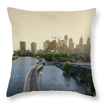 Throw Pillow featuring the photograph Schuylkill River Walk At Sunrise by Bill Cannon