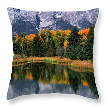 Schwabacher Landing -grand Teton Throw Pillow