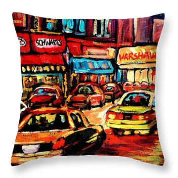 Schwartz's Deli At Night Throw Pillow by Carole Spandau