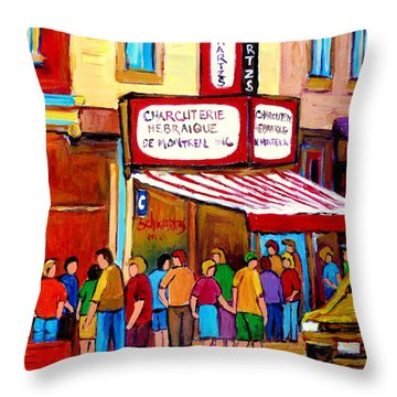 Schwartzs Hebrew Deli Montreal Streetscene Throw Pillow by Carole Spandau
