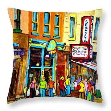 Schwartz's Hebrew Deli On St. Laurent In Montreal Throw Pillow by Carole Spandau