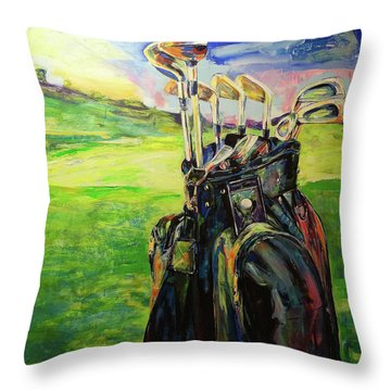Schwarze Golftasche  Black Golf Bag Throw Pillow